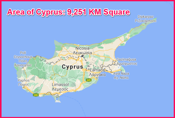 Area of Cyprus compared to Bali