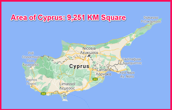 Area of Cyprus compared to Barbados