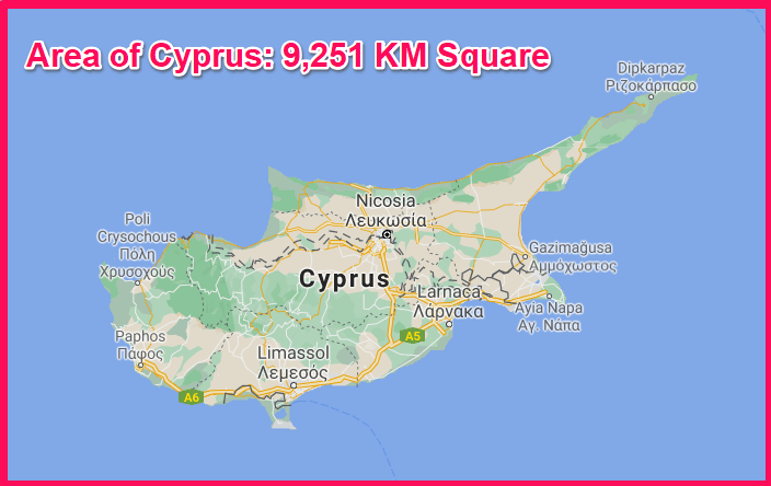 Area of Cyprus compared to Belgium