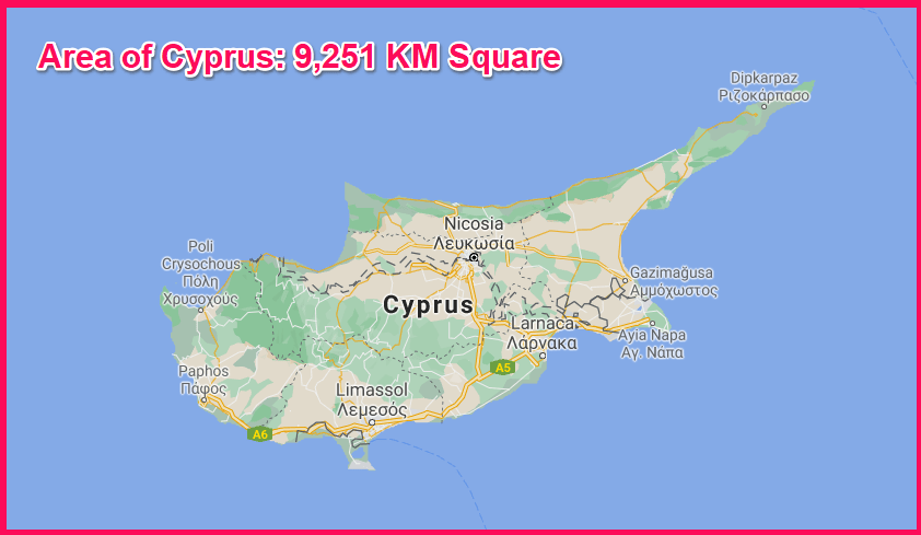 Area of Cyprus compared to Bosnia and Herzegovina