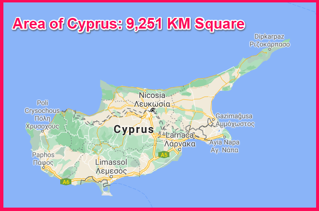 Area of Cyprus compared to Corfu