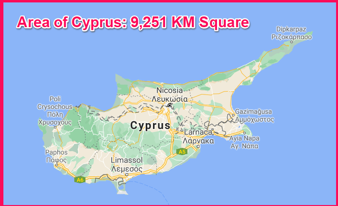 Area of Cyprus compared to Cuba