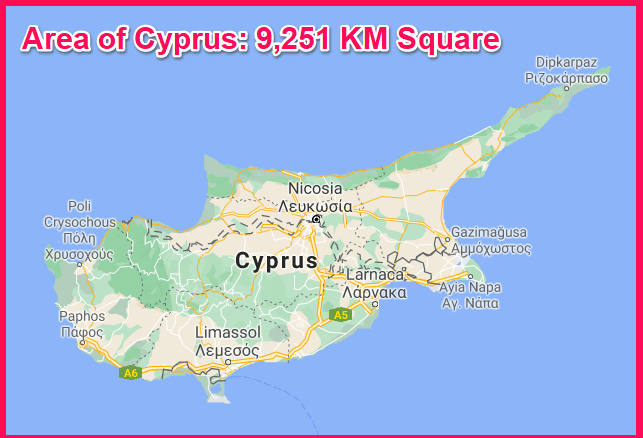 Area of Cyprus compared to Egypt