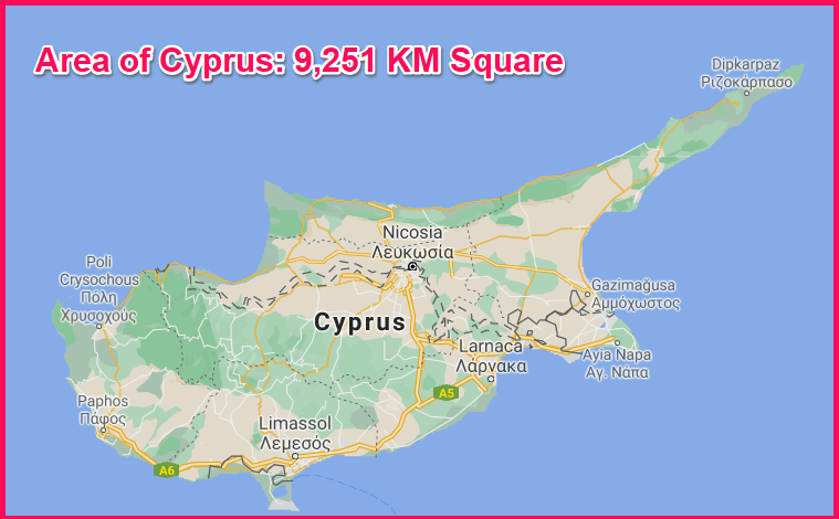Area of Cyprus compared to England
