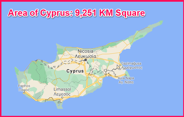 Area of Cyprus compared to Hawaii