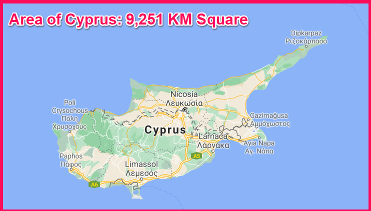 Area of Cyprus compared to Ibiza