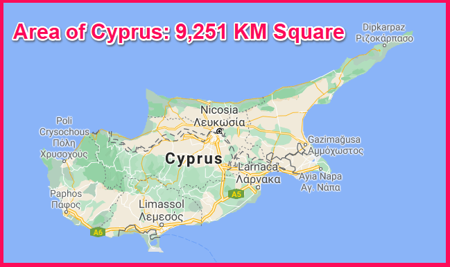 Area of Cyprus compared to Israel