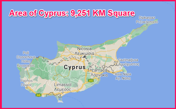 Area of Cyprus compared to Jamaica