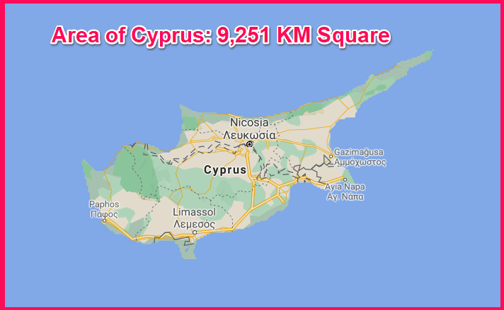 Area of Cyprus compared to Kazakhstan