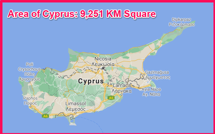 Area of Cyprus compared to Kenya