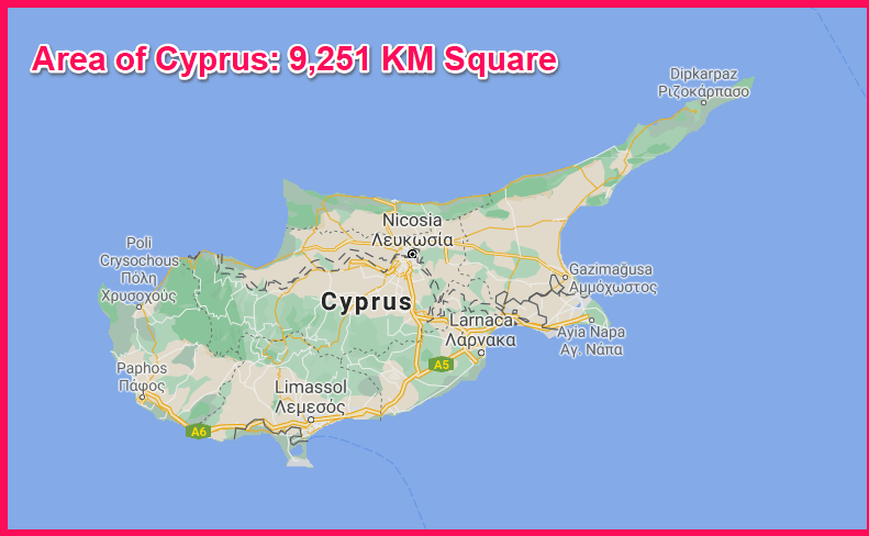Area of Cyprus compared to Kuwait