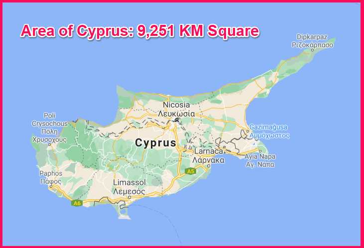 Area of Cyprus compared to Lebanon