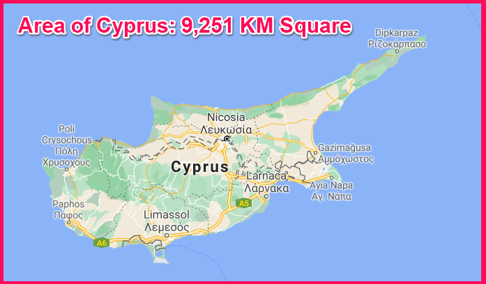 Area of Cyprus compared to London