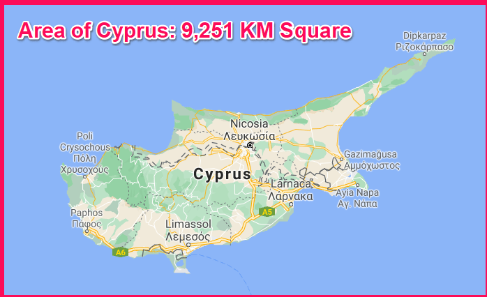 Area of Cyprus compared to Luxembourg