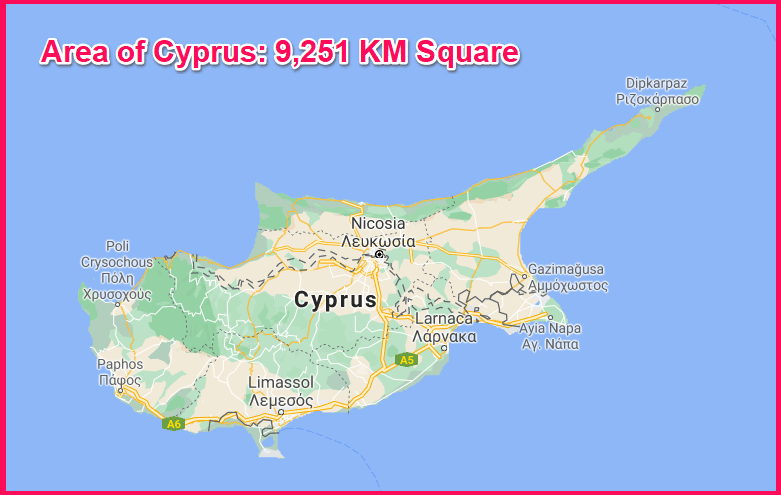 Area of Cyprus compared to Majorca