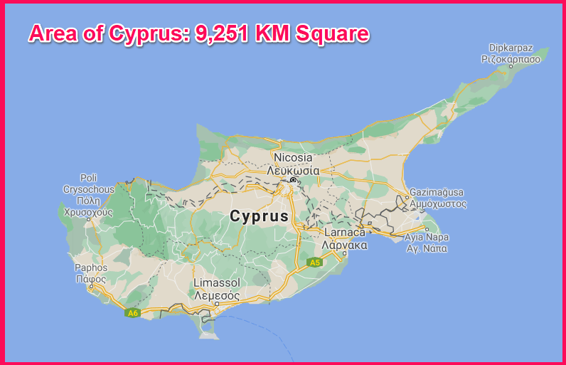 Area of Cyprus compared to Northern Ireland