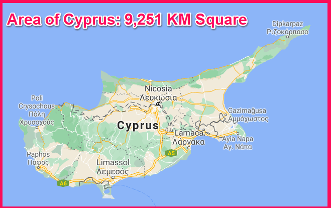 Area of Cyprus compared to Oman