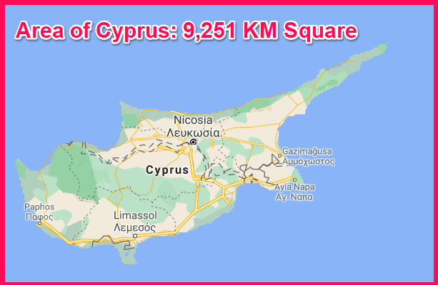 Area of Cyprus compared to Poland