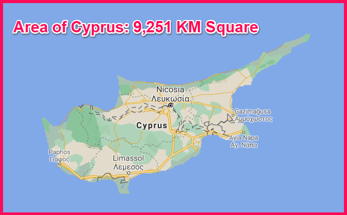 Area of Cyprus compared to Portugal