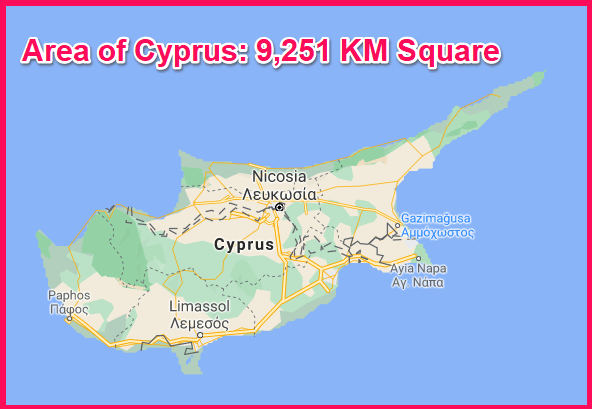 Area of Cyprus compared to Qatar