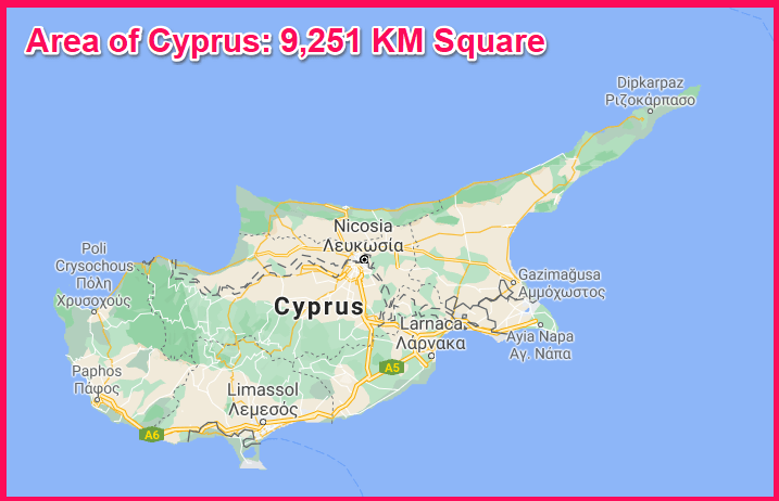 Area of Cyprus compared to Rhodes