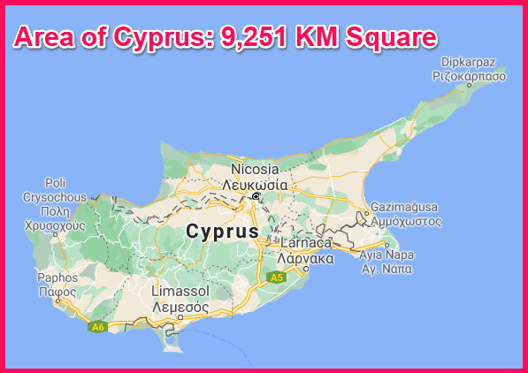 Area of Cyprus compared to Sardinia