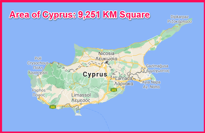 Area of Cyprus compared to Spain