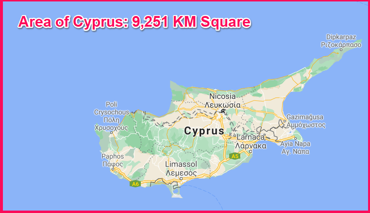 Area of Cyprus compared to Wales