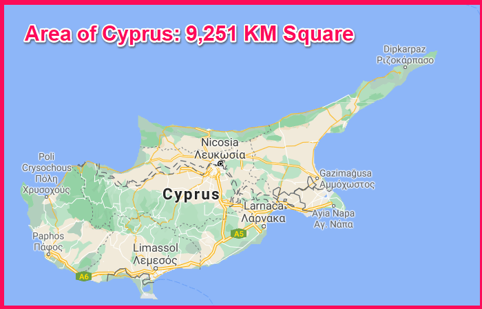 Area of Cyprus compared to the Isle of Wight