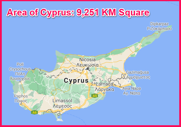 Area of Cyprus compared to the UAE