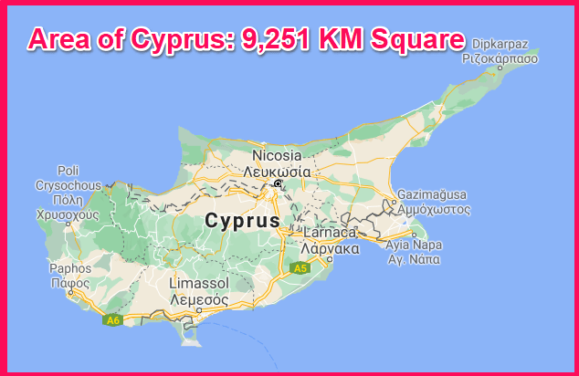 Area of Cyprus compared to the USA