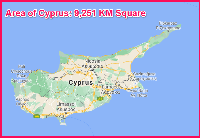 Area of Cyprus compared to the area of Liechtenstein