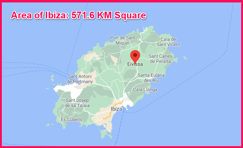 Area of Ibiza compared to Cyprus
