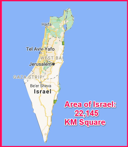 Area of Israel compared to Cyprus