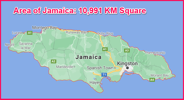 Area of Jamaica compared to Cyprus