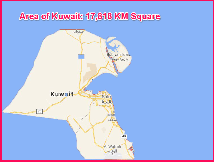 Area of Kuwait compared to Cyprus