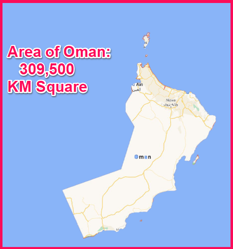Area of Oman compared to Cyprus