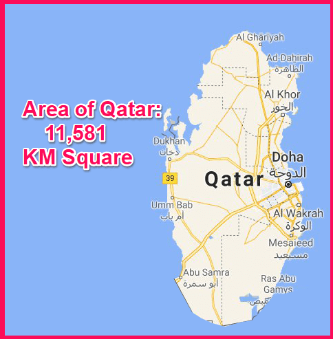 Area of Qatar compared to Cyprus