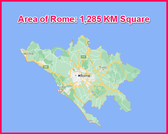 Area of Rome compared to Greece