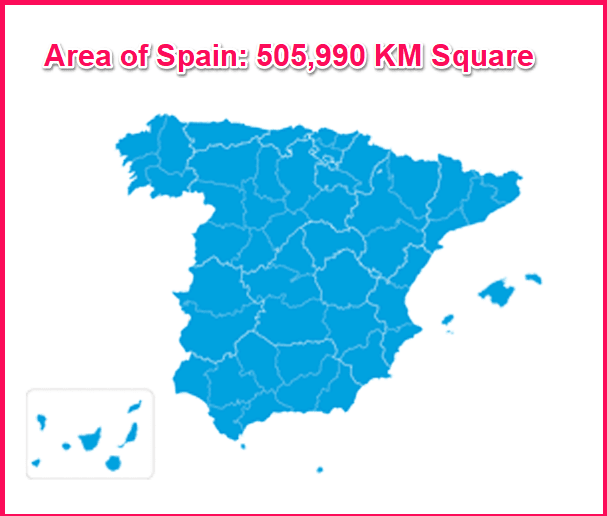 Area of Spain compared to Greece