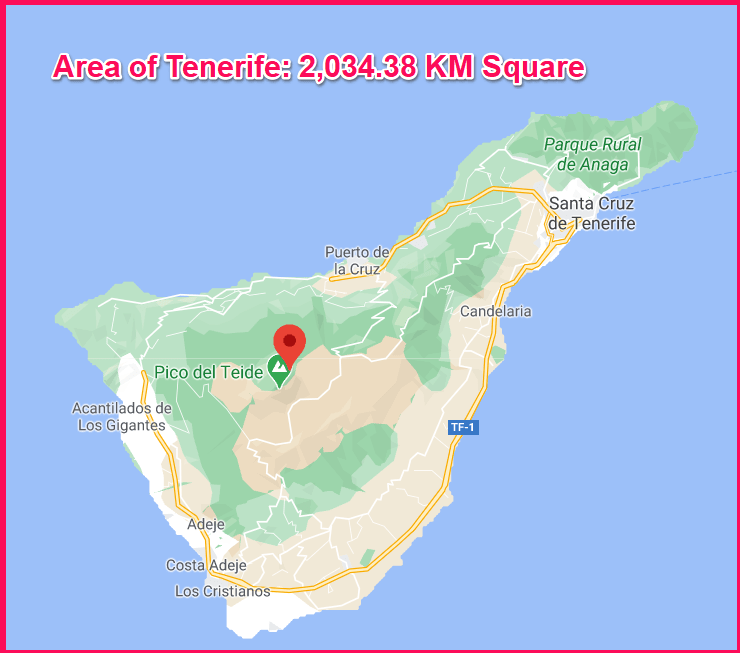 Area of Tenerife compared to Cyprus