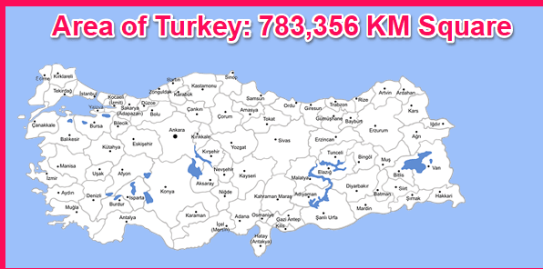 Area of Turkey compared to Cyprus