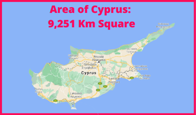Area of Cyprus Compared to Ireland