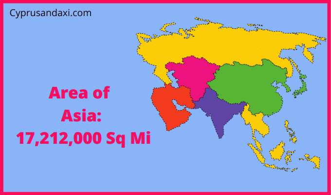 Area of Asia compared to the area of the United States of America