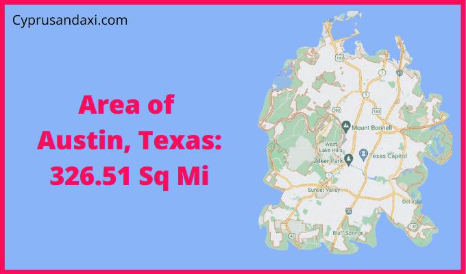 Area of Austin Texas compared to Dallas Texas