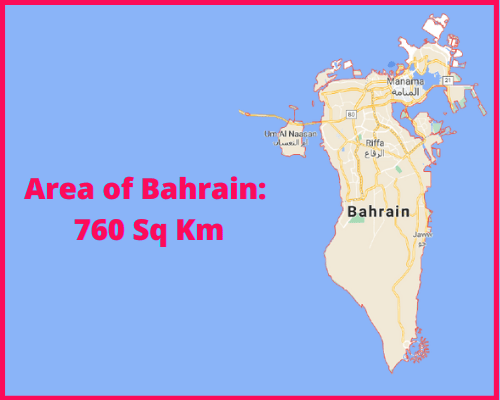 Area of Bahrain compared to the area of the United States of America