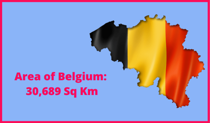 Area of Belgium compared to the area of the United States of America