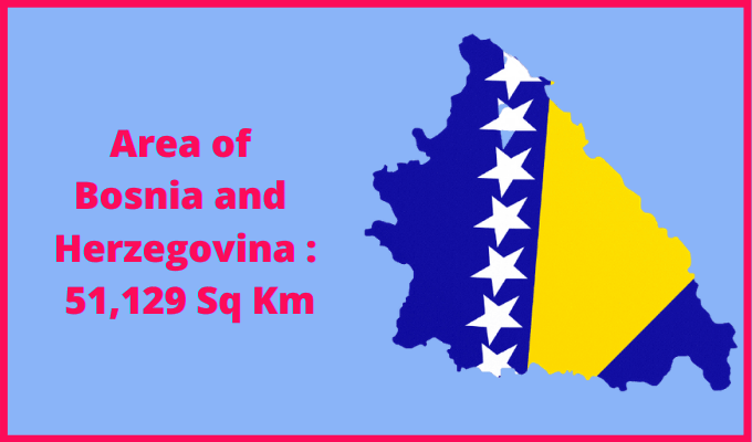 Area of Bosnia and Herzegovina compared to the area of the United States of America