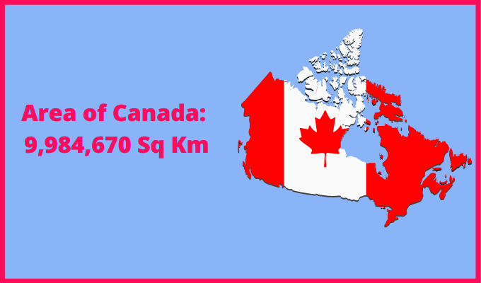 Area of Canada compared to the area of the United States of America