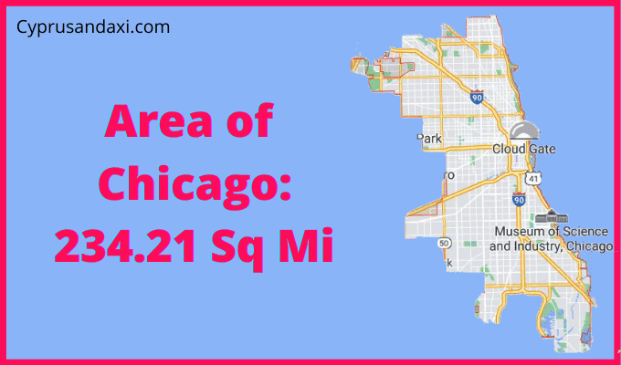 Area of Chicago compared to Houston Texas